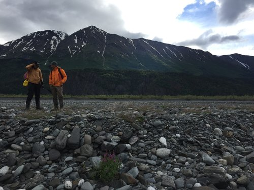 Annie Wong and Darrell Kaufman on the Skilak River floodplain near Pothole Lake